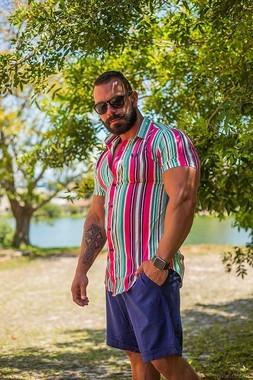 Camisa Masculina Slim Viscose Listrada