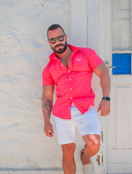 Camisa Masculina Tricoline Com Elastano Rosa