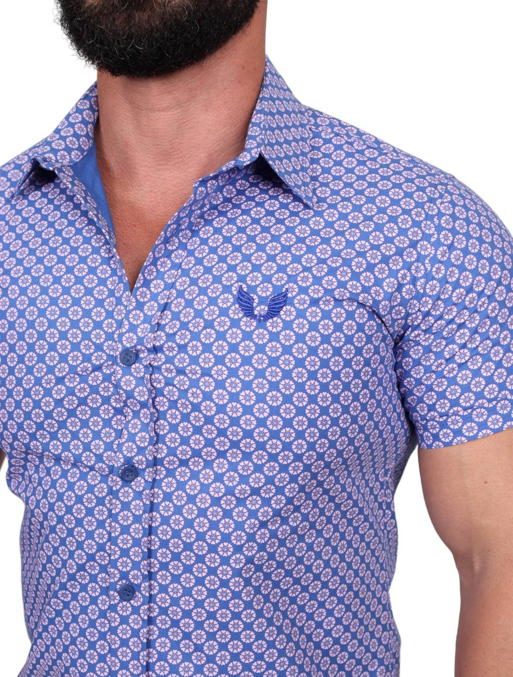 Camisa Slim Manga Curta Azul Estampada