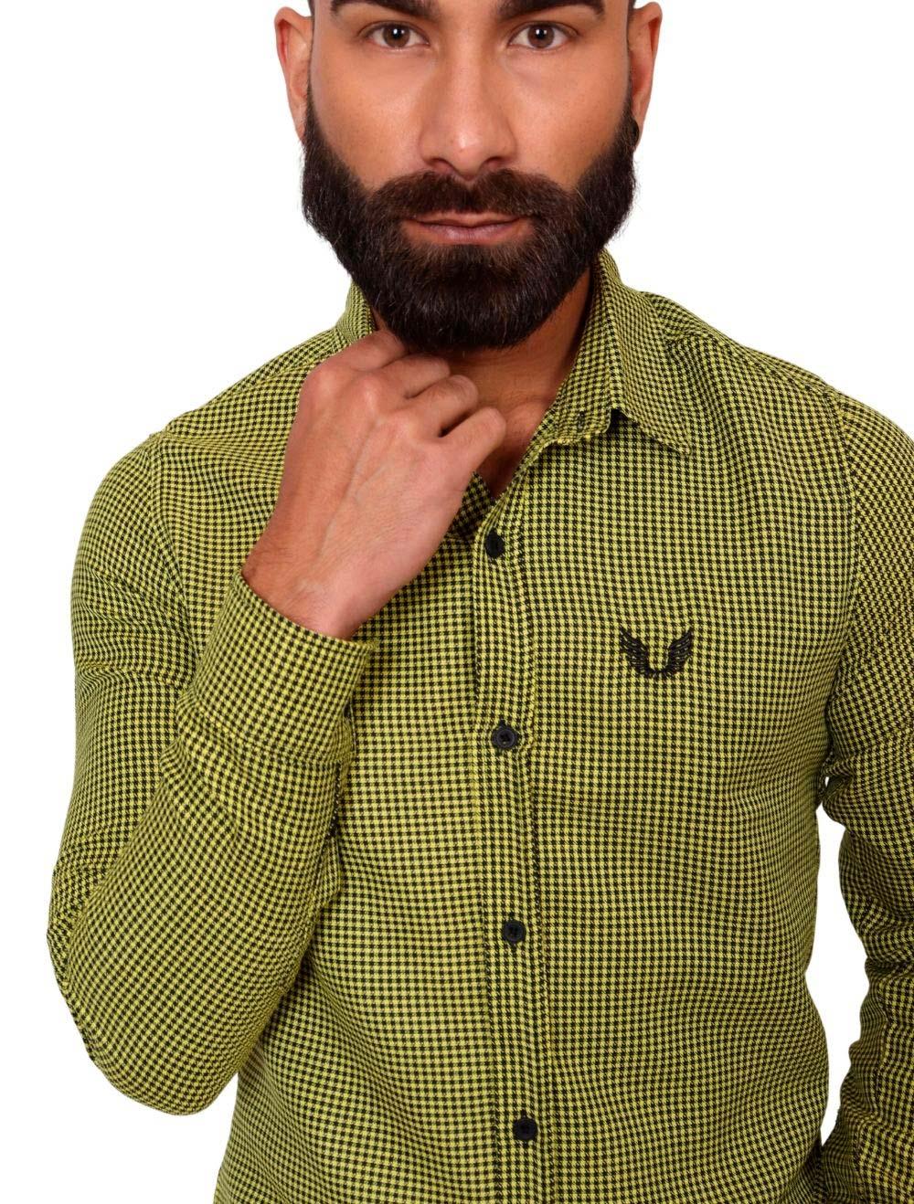 Camisa Xadrez Masculina Amarela Slim Manga Longa