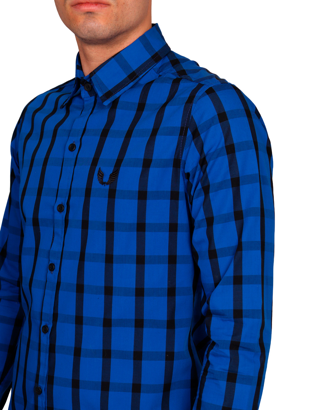 Camisa Xadrez Masculina Slim Manga Longa Azul