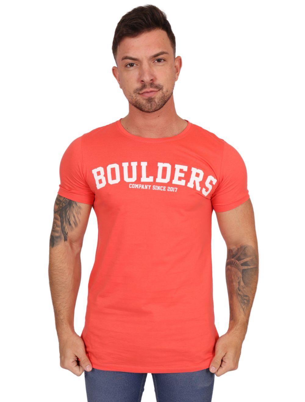 Camiseta Long Vermelha Masculina Boulders Since 2017