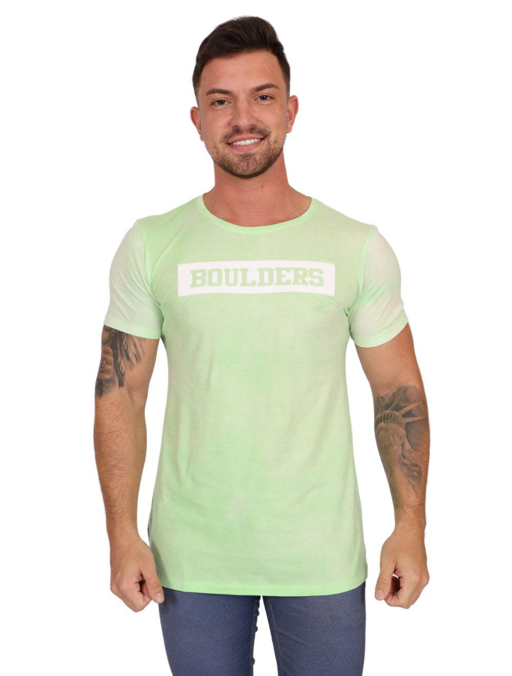 Camiseta Masculina Estampada Boulders Verde