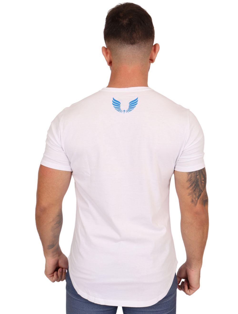 Camiseta Masculina Estampada Longline Manga Curta Branca