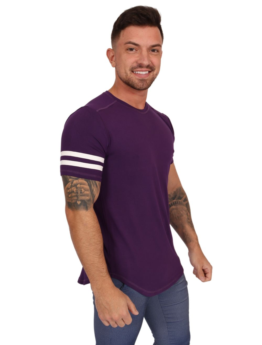Camiseta Masculina Estampada Longline Seven Roxa