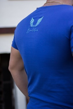 Camiseta Masculina Estampada Longline Sim Censored Azul