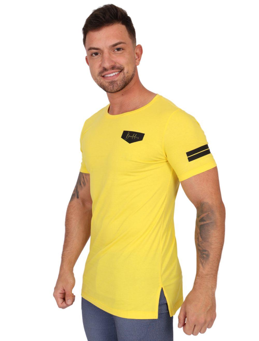 Camiseta Masculina LongLine Amarelo