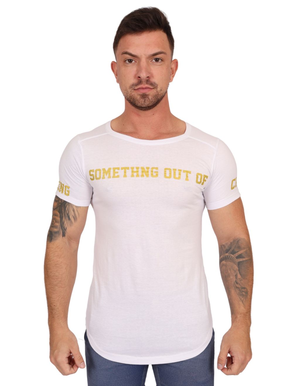 Camiseta Masculina Longline Branca Something