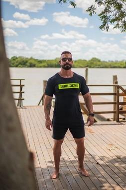 Camiseta Masculina LongLine Com Elastano Preto