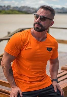Camiseta Masculina LongLine Laranja
