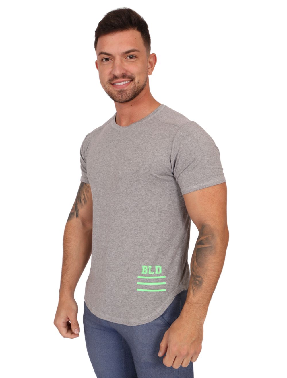 Camiseta Masculina Longline Manga Curta Growthstage Mescla