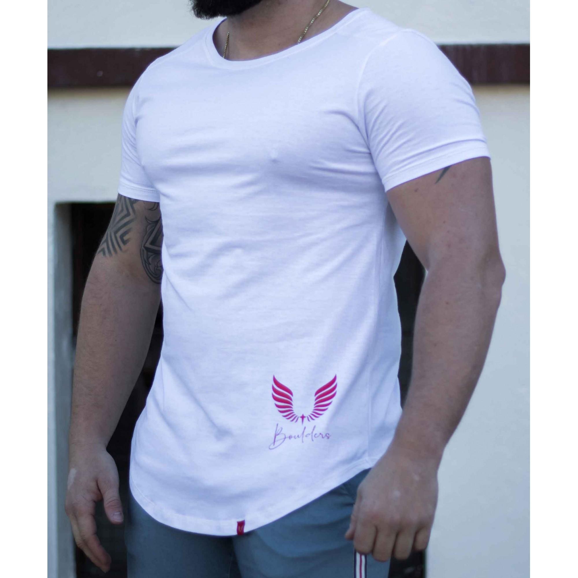Camiseta Masculina Estampada Longline Manga Curta Vermelho