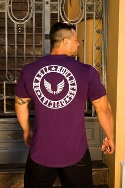 Camiseta Masculina Estampada Longline com Elastano Barbells