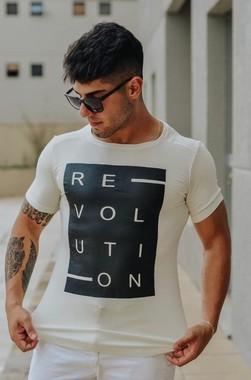 Camiseta Masculina Longline com Elastano Off White