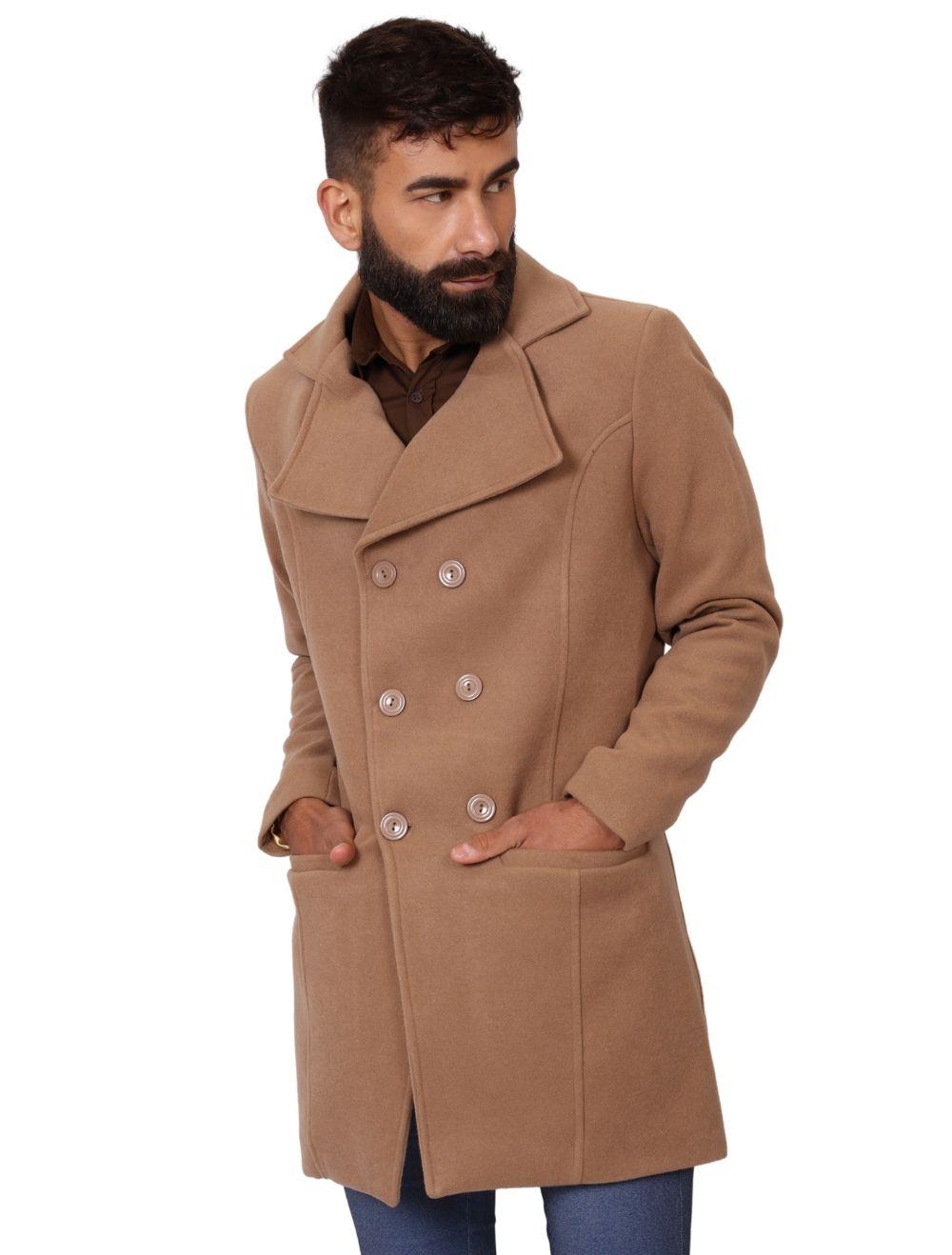 Casaco de Lã Slim Masculino Marrom Caramelo
