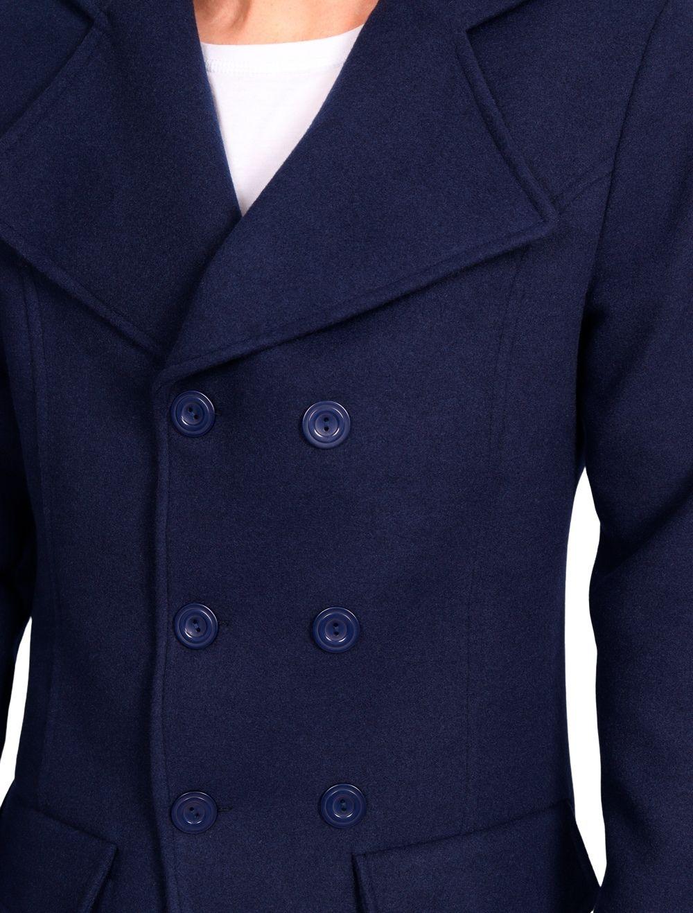 Casaco de Lã Slim Masculino Azul Marinho