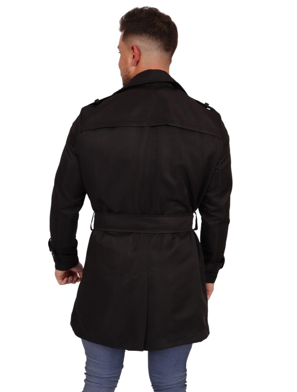 Casaco Masculino Capa Trench Coat Slim Preto