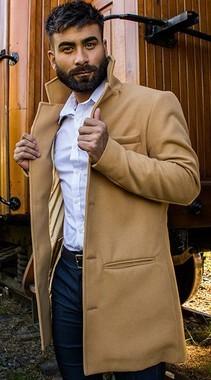Casaco Masculino Alongado em Lã  Marrom Caramelo