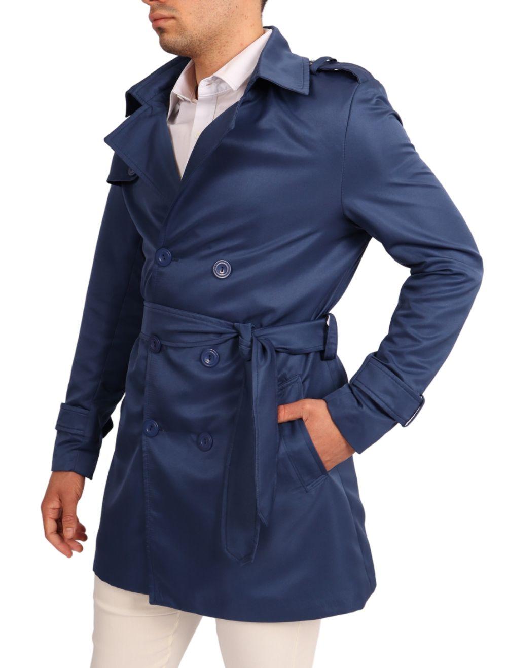 Casaco Masculino Capa Trench Coat Slim Azul