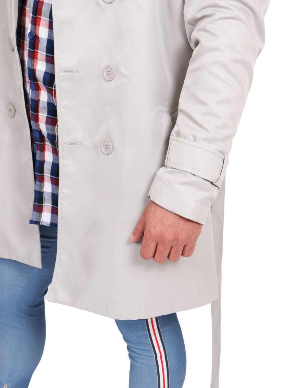 Casaco Masculino Capa Trench Coat Slim Cinza Claro