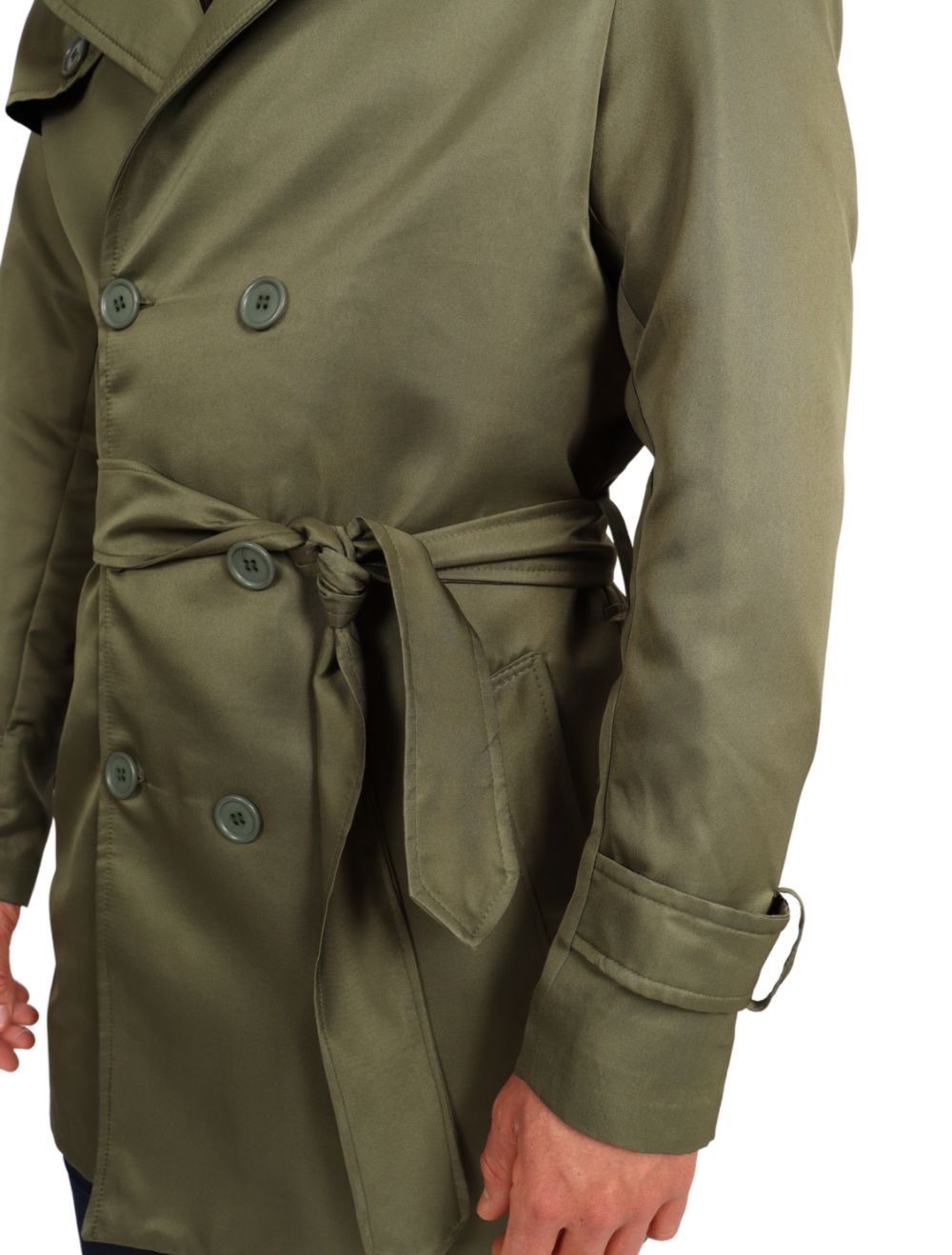 Casaco Masculino Capa Trench Coat Slim Verde Militar