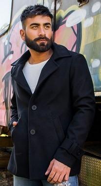 Casaco Masculino Slim em Lã Preta