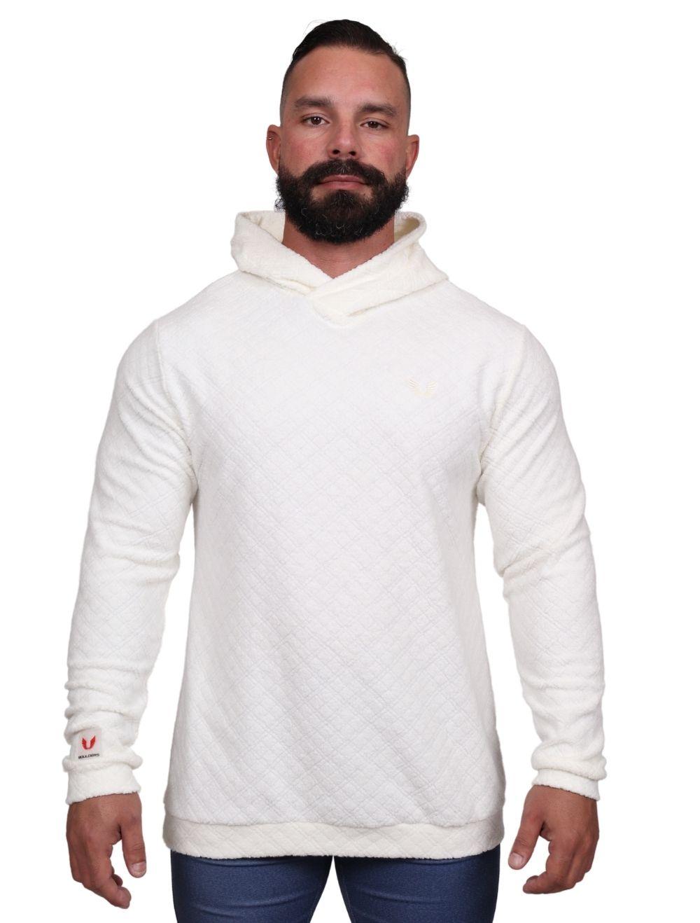 Blusa de malha Masculina Peluciada com Capuz Off White