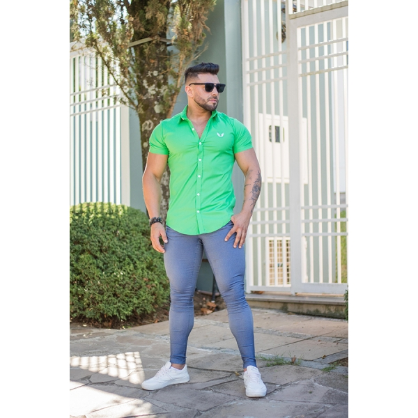 Camisa Masculina Slim Verde