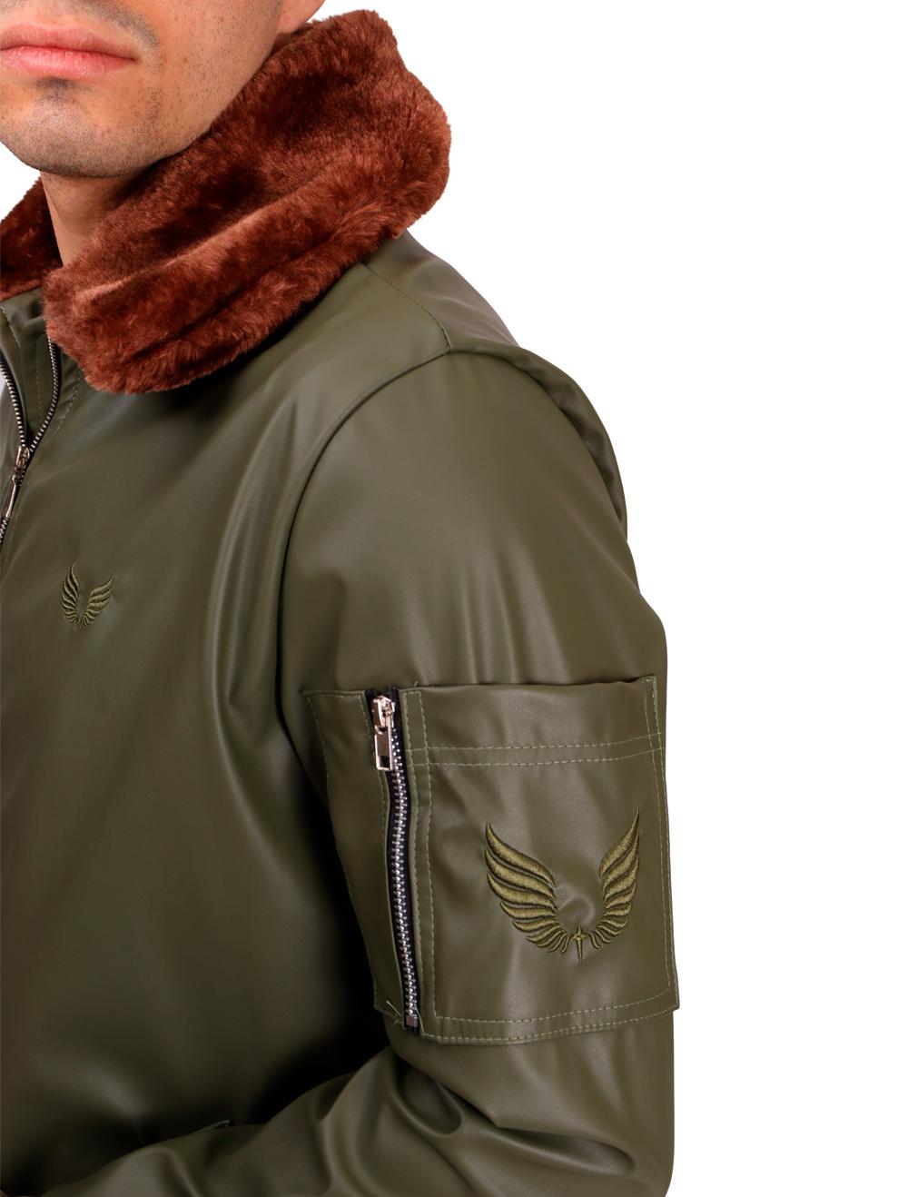 Jaqueta Aviador Courino Verde Militar Gola Pele Masculino