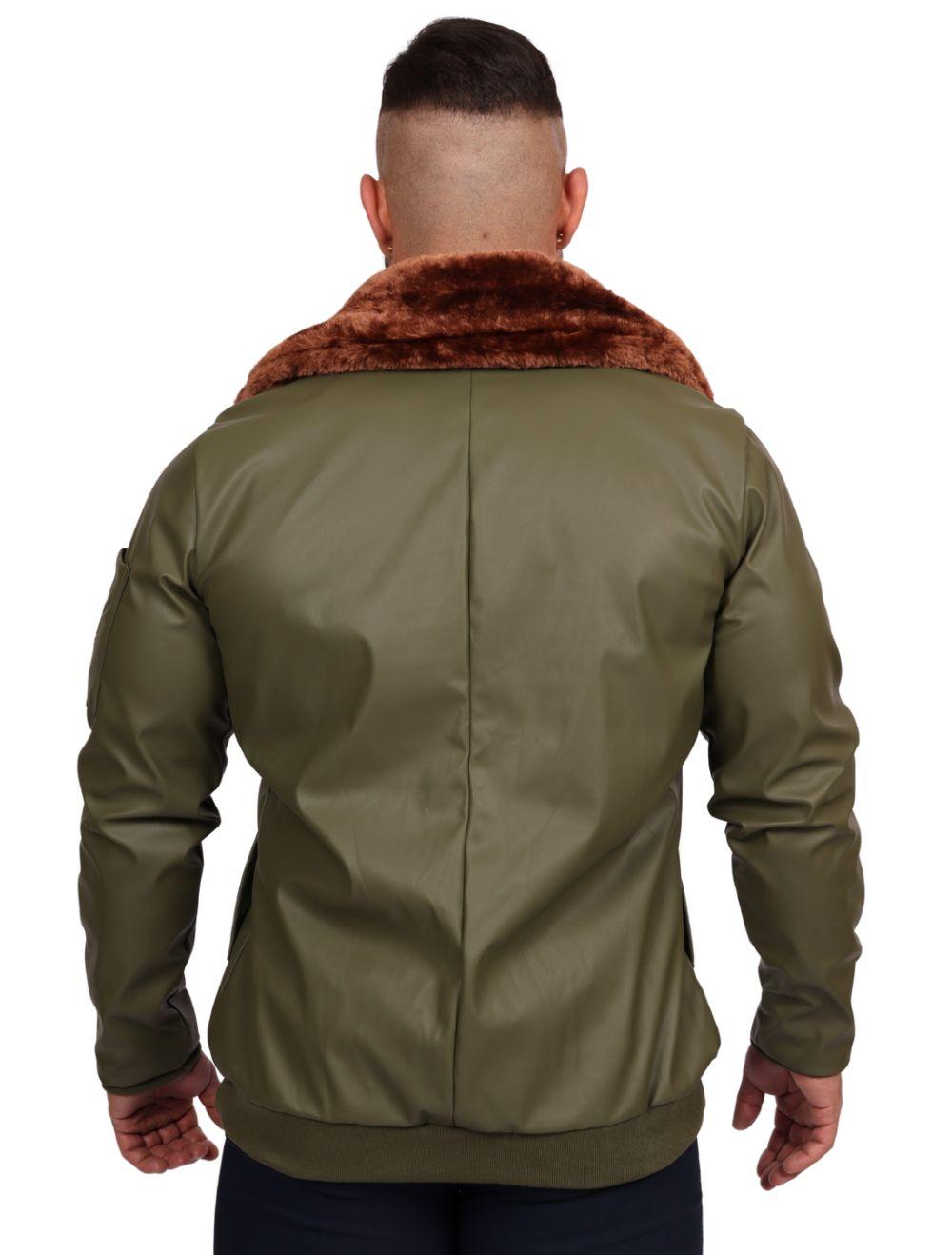 Jaqueta Masculina Aviador Courino Verde Militar Gola Pele