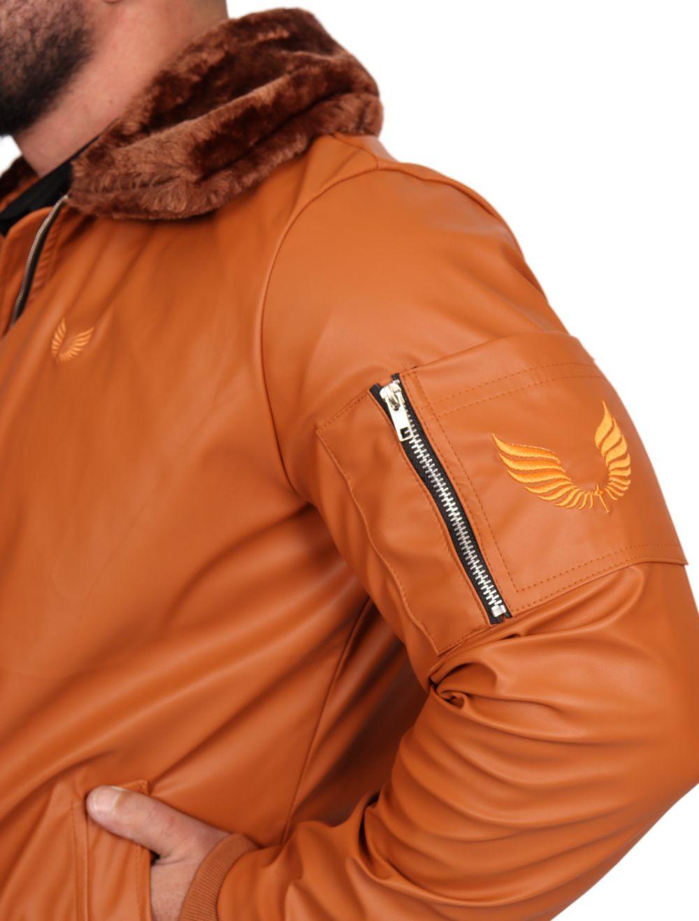 Jaqueta Masculina Aviador em Courino Caramelo em Gola Pele
