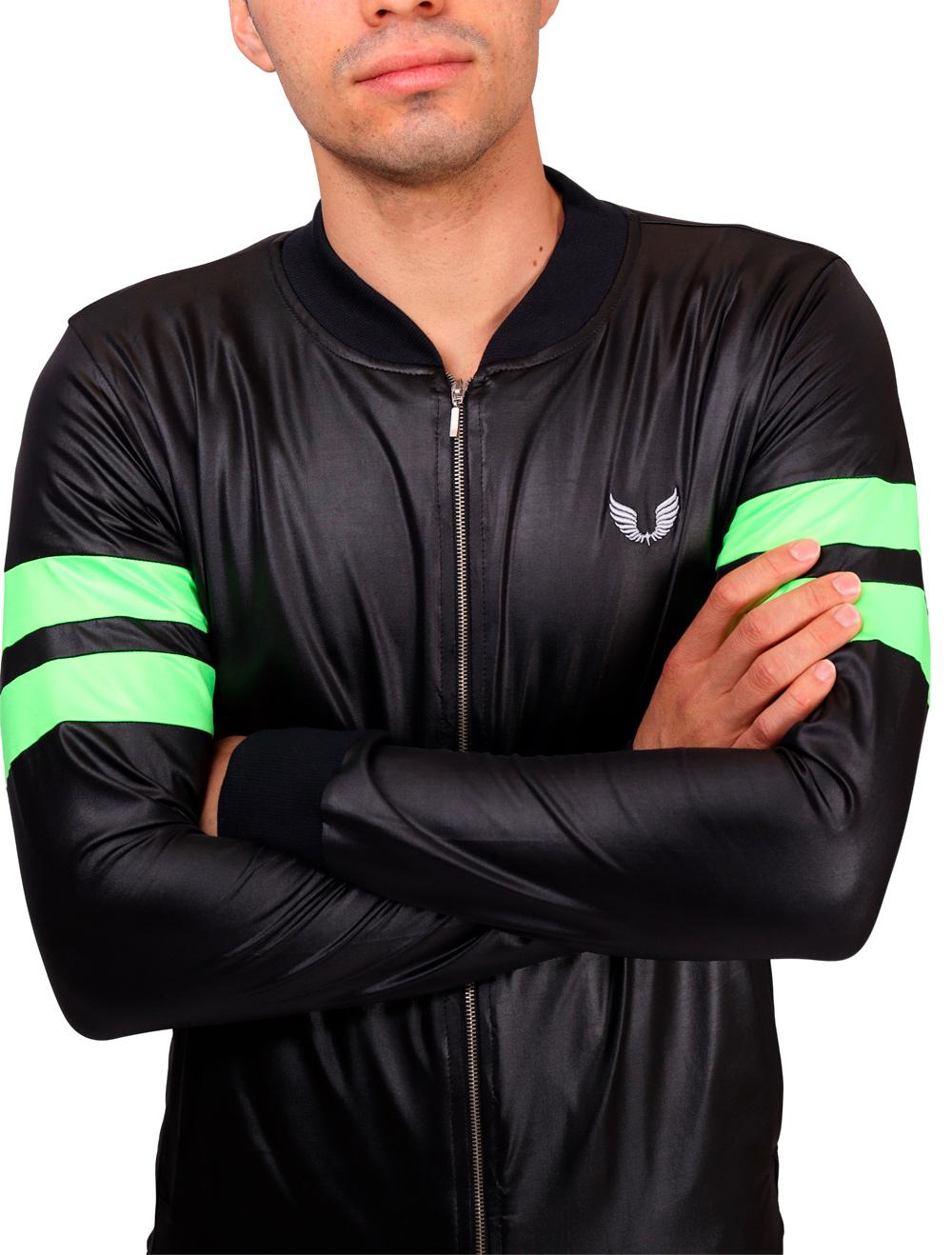 Jaqueta Cirre Masculina Preta com Verde Neon