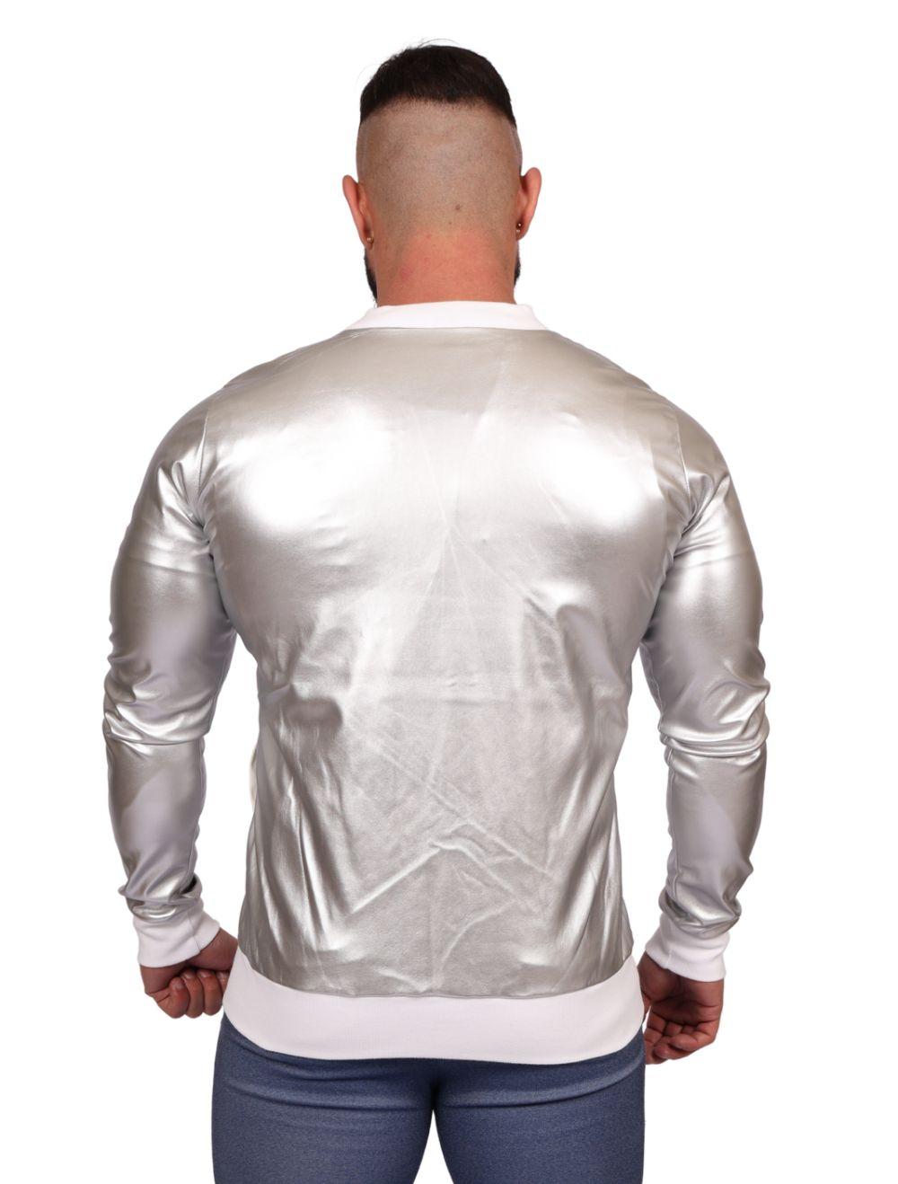 Jaqueta Bomber Masculina Courino Prata Metalizada