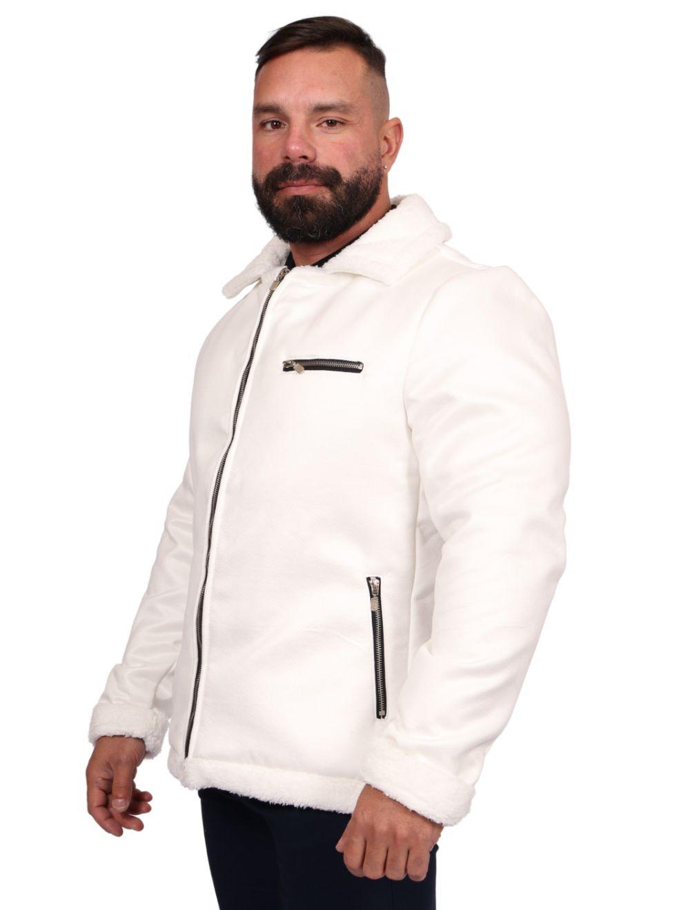 Jaqueta Masculina Slim Forro Peluciado Branco