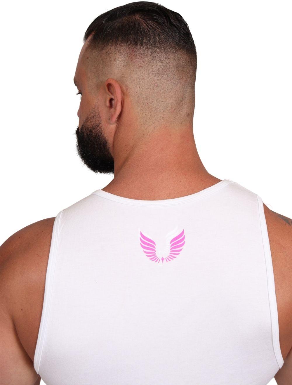 Regata Masculina Slim com Elastano Branco Estampa Neon Rosa