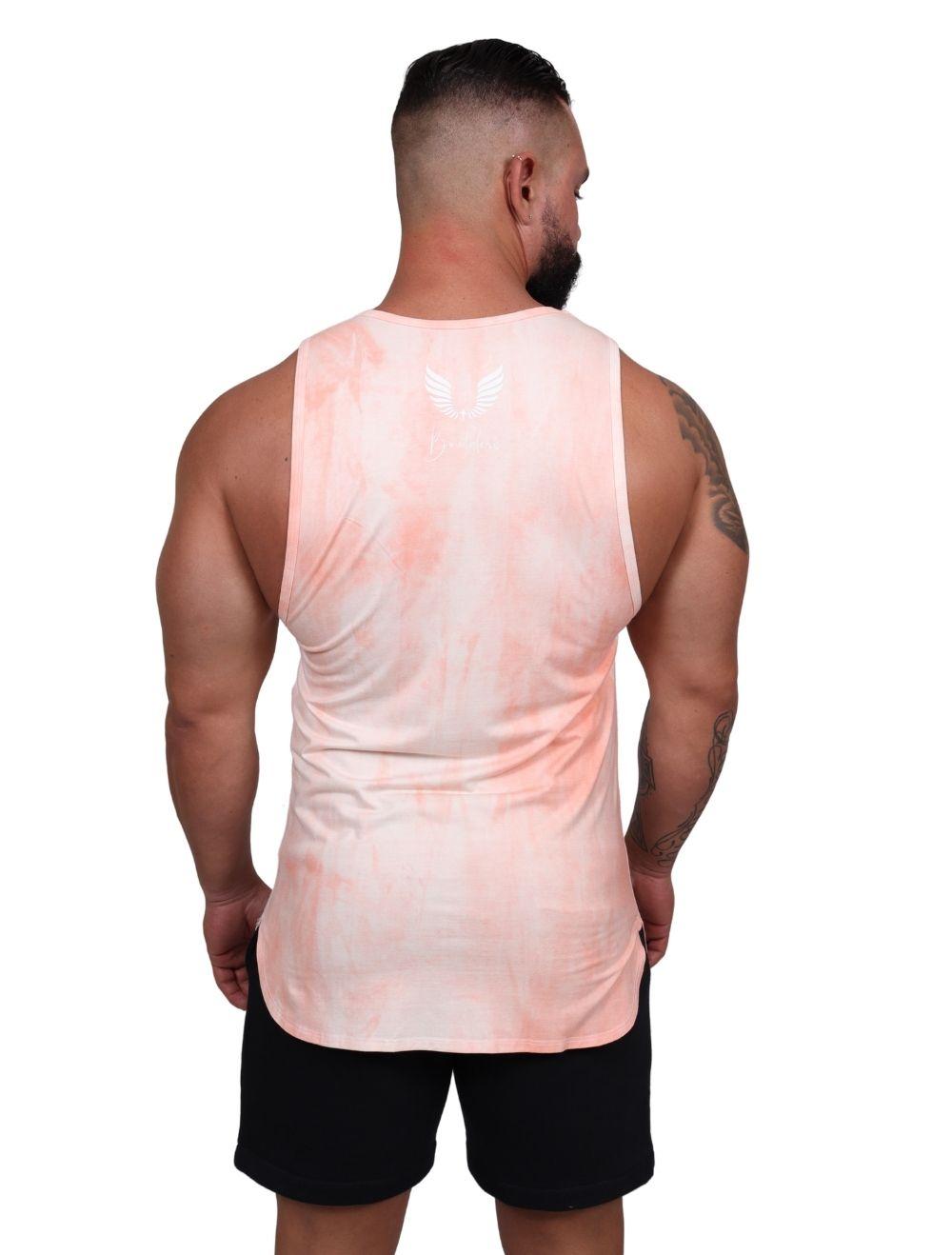Regata Masculina Slim Com Elastano Tie Dye Salmão