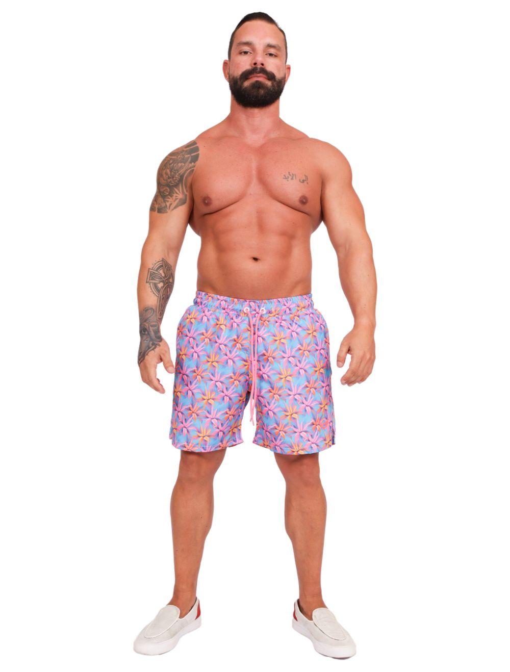 Short Masculino Estampado Tropical