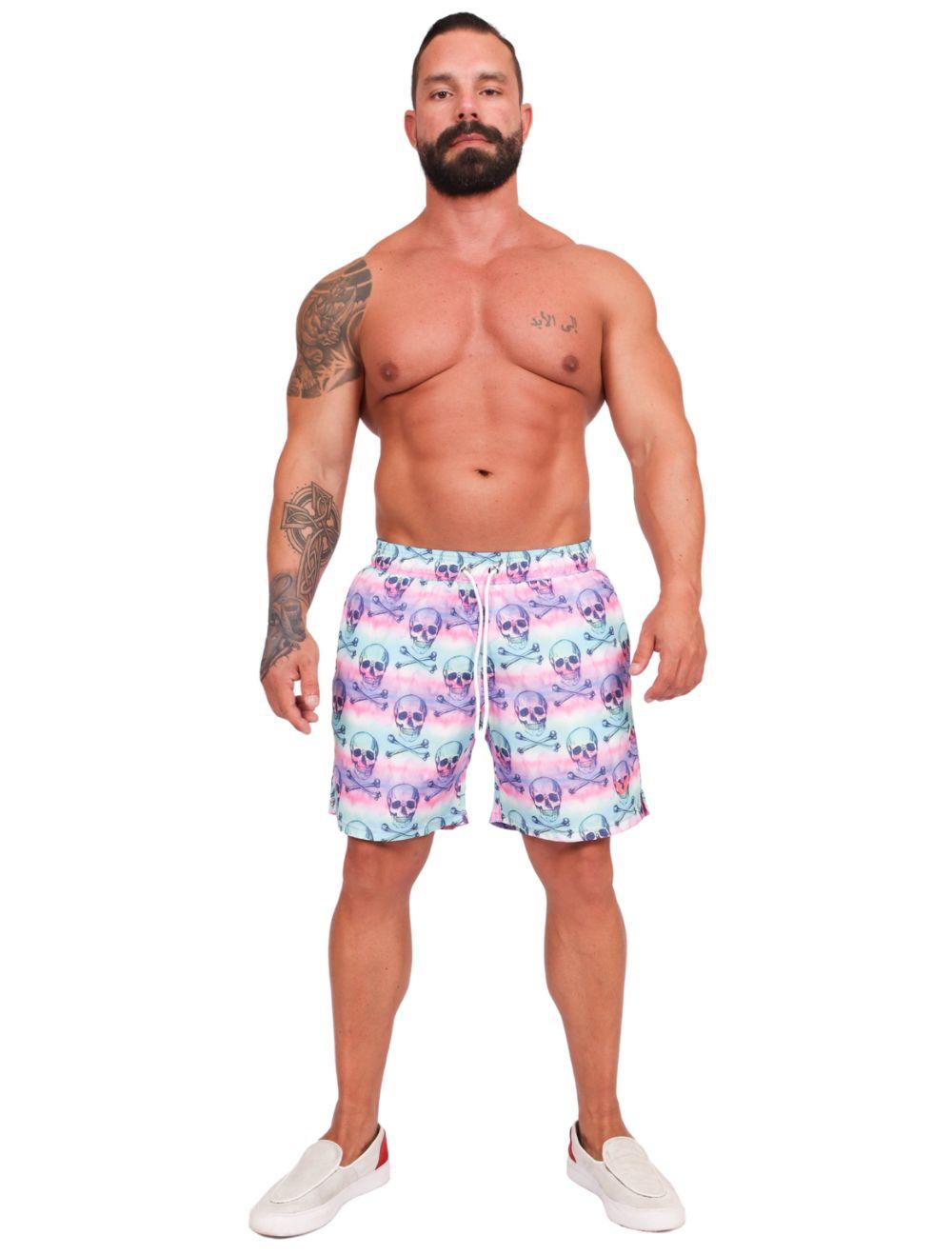 Short Praia Masculino Caveira Tie Dye
