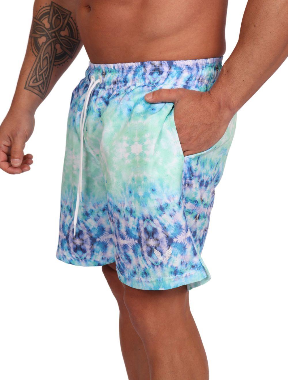 Short Praia Masculino Estampa Tie Dye Azul