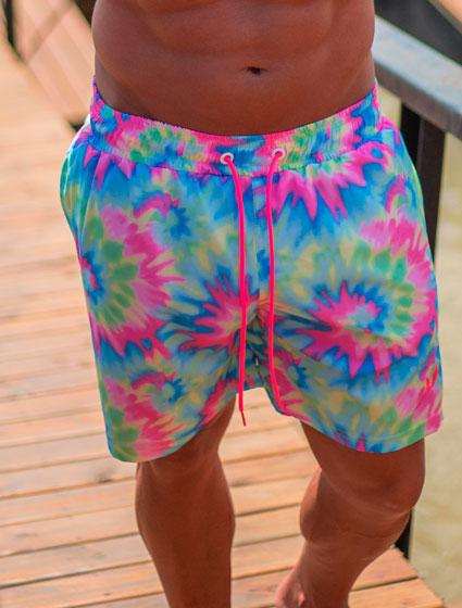 Short Praia Masculino Estampa Tie Dye Colorido