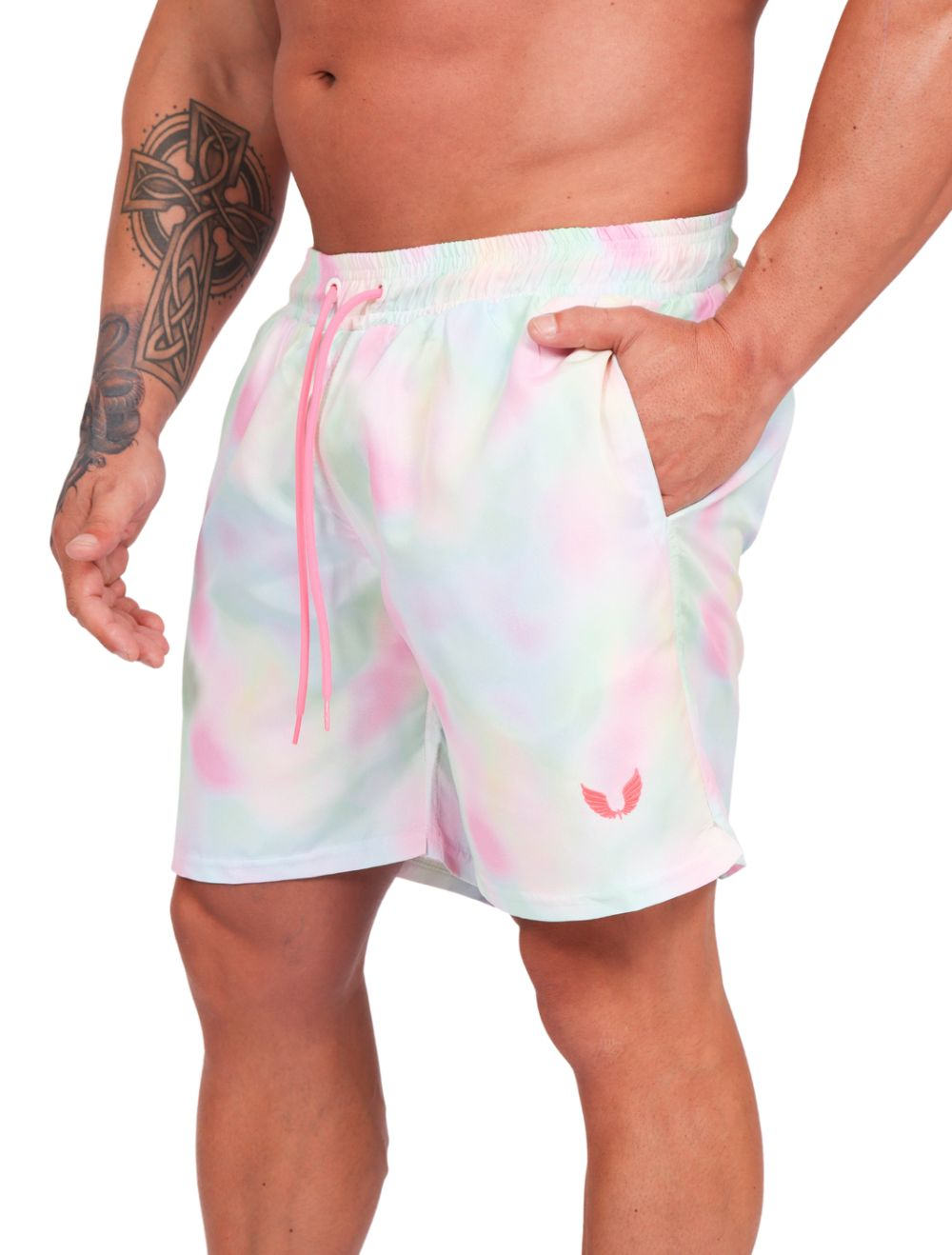 Short Praia Masculino Estampa Tie Dye Rosa