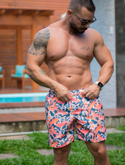 Short Praia Masculino Estampado Carpas