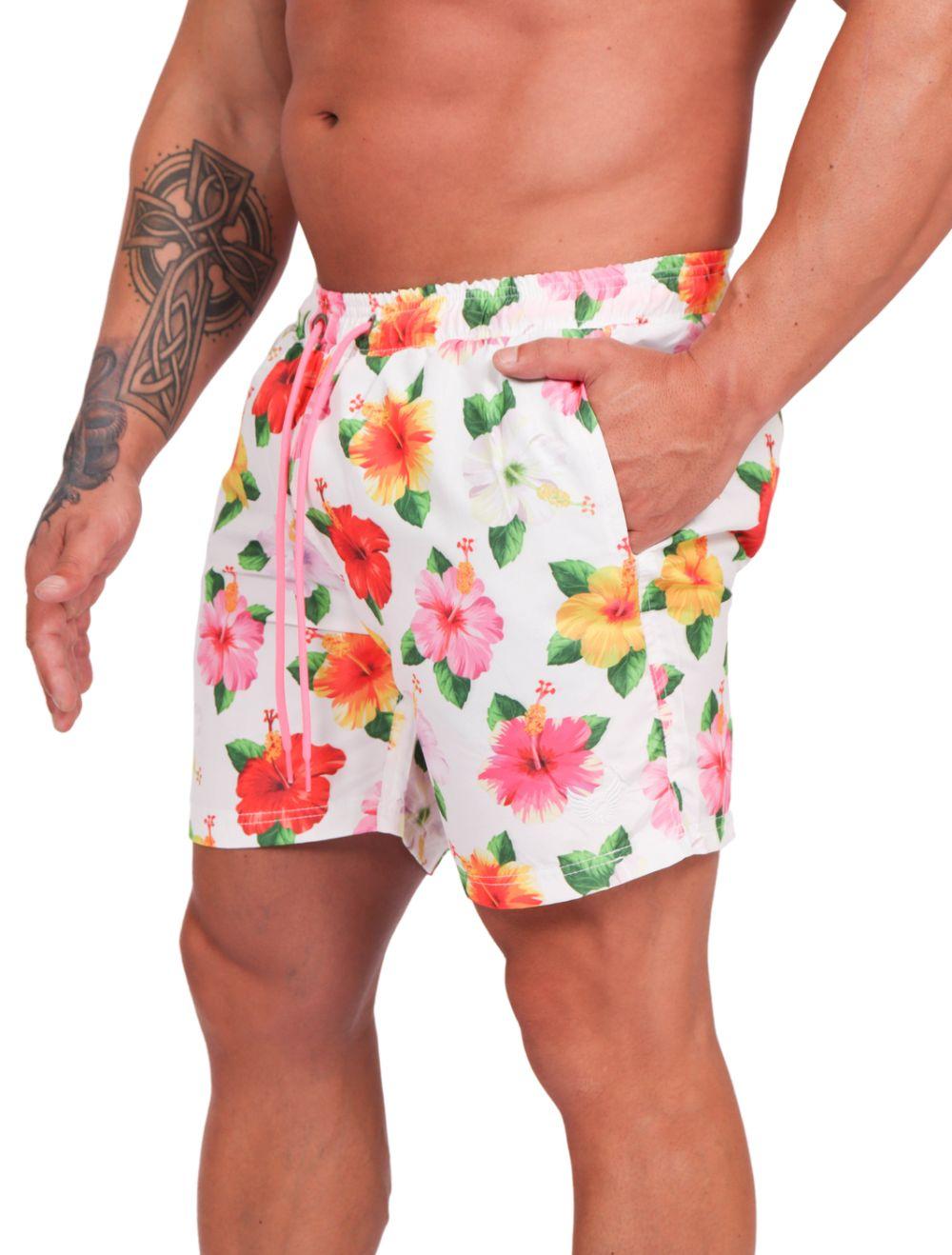 Short Praia Masculino Estampado Floral
