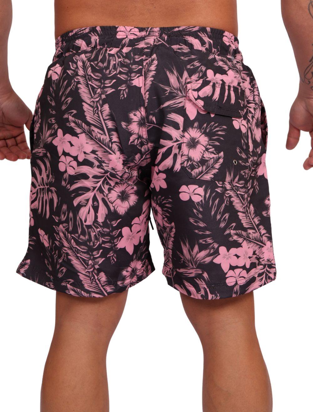 Short Praia Masculino Estampado Floral Rosa