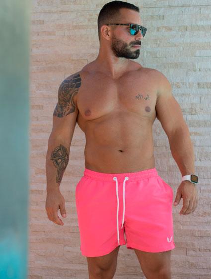 Shorts Praia Masculino Rosa Neon