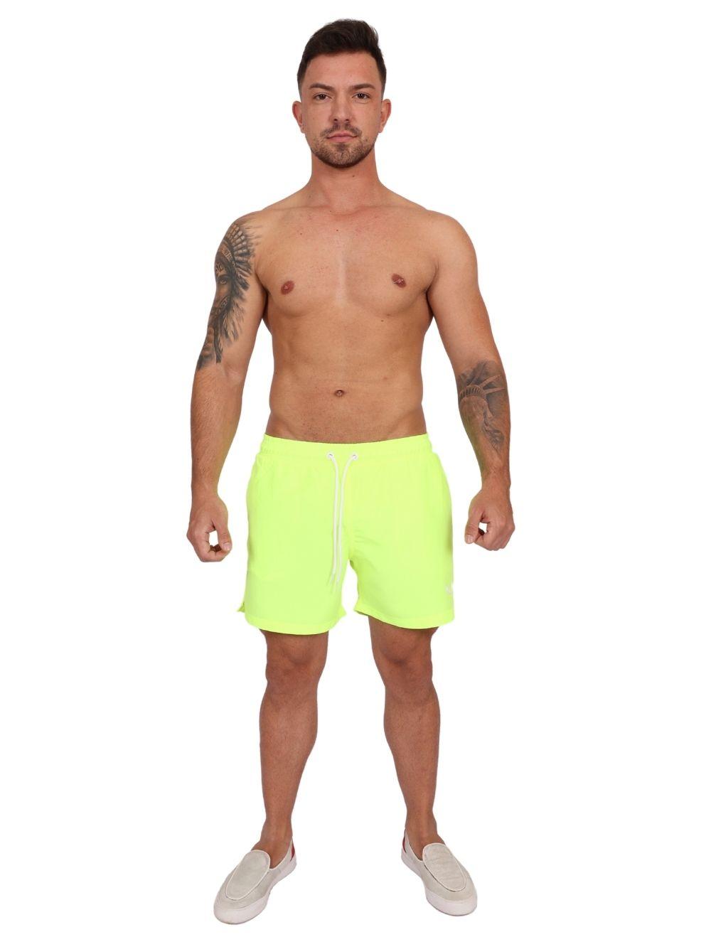 Shorts Praia Masculino Amarelo Neon