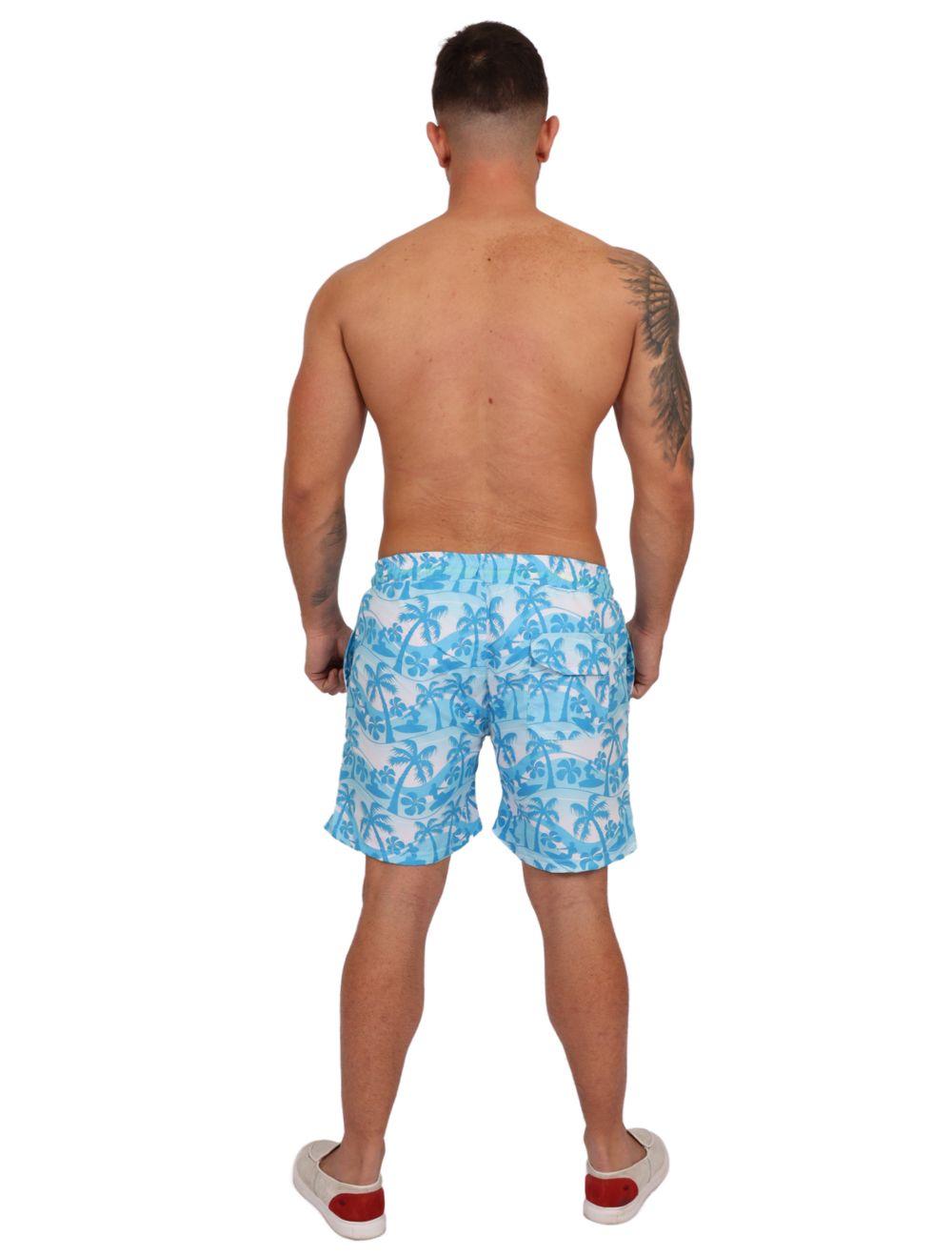 Shorts Praia Masculino Estampado Azul