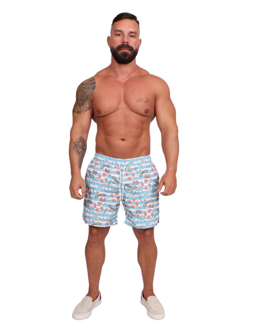 Shorts Praia Masculino Estampado Azul Mar