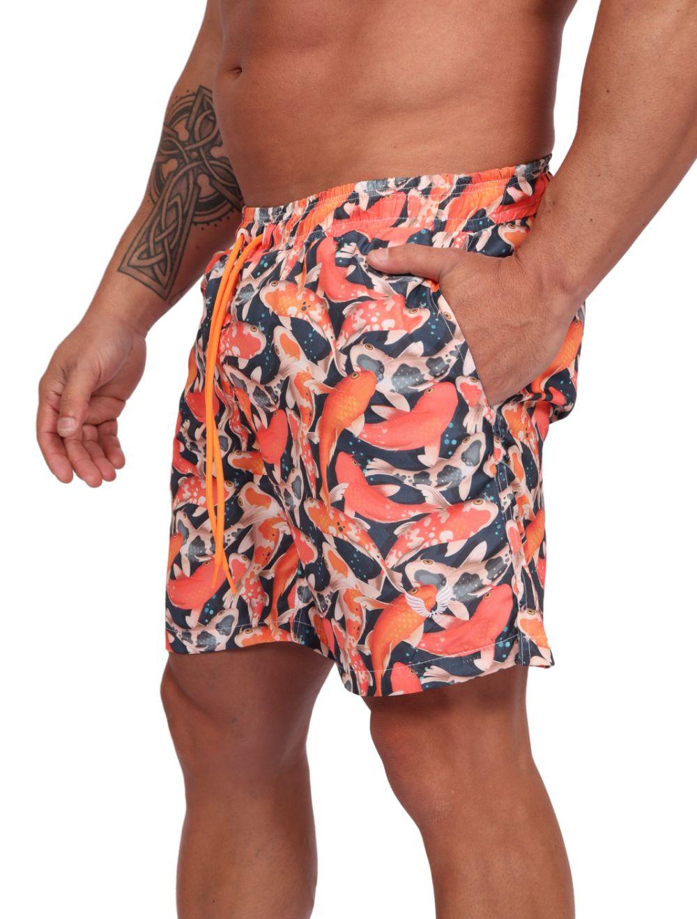 Shorts Praia Masculino Estampado Carpas