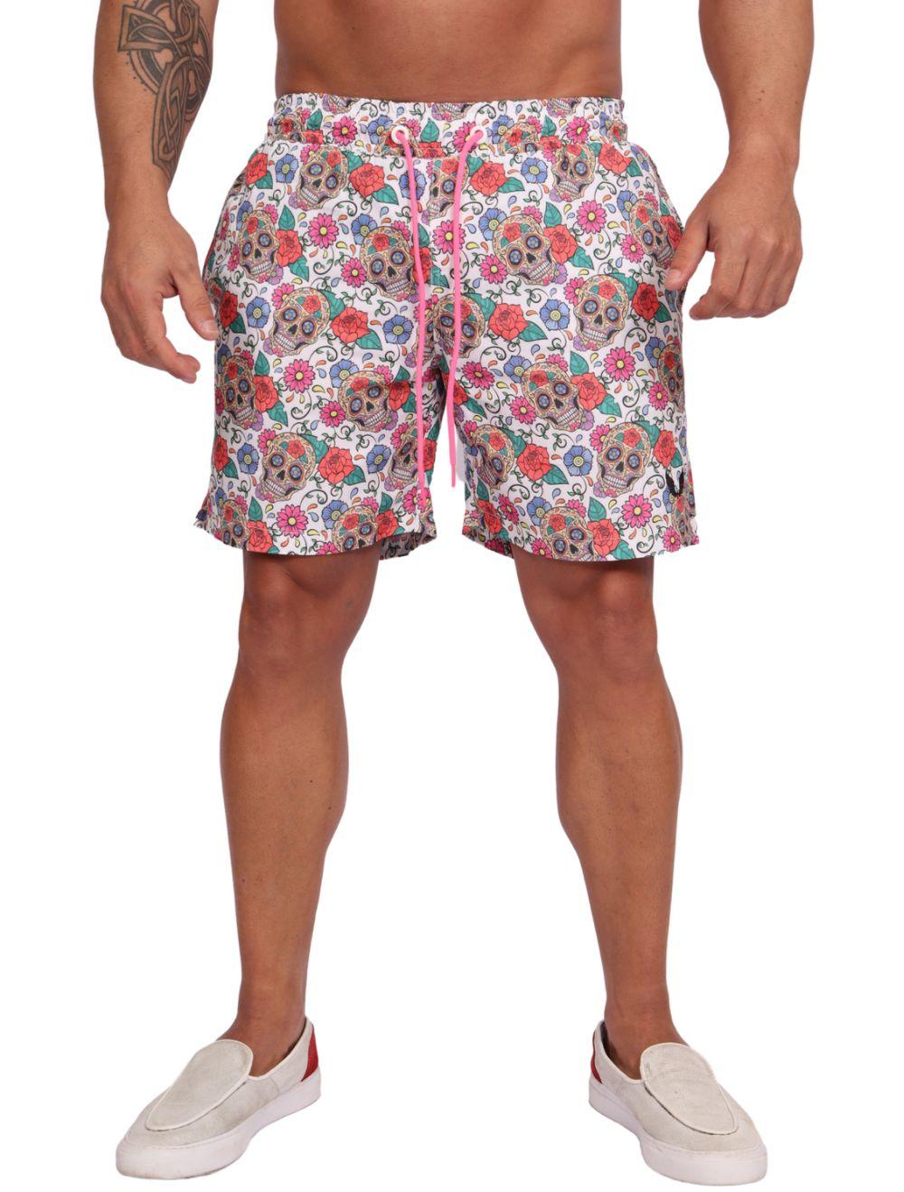 Shorts Praia Masculino Estampado Caveira